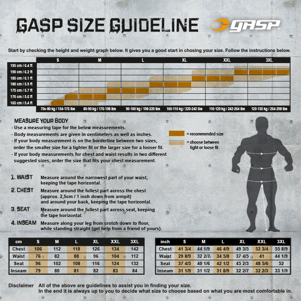 gasp size guideline