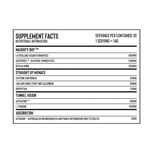 naughty boy supplement facts